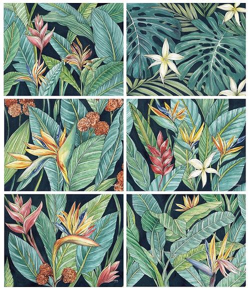6 PLACEMATS + 6 COASTERS SET- AUSTRALIAN CINNAMON- TROPICAL LEAVES,FLOWERS,BIRDS