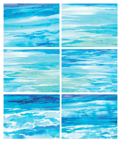 6 PLACEMATS + 6 COASTERS SET -AUSTRALIAN CINNAMON - OCEAN DREAMING, HELEN ASHLEY