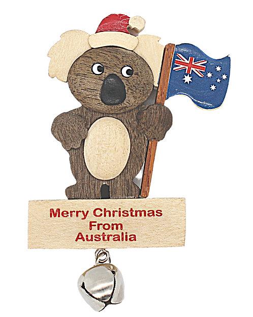 KOALA - CHRISTMAS TREE HANGING ORNAMENT - WOODEN - AUSTRALIA FLAG