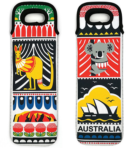 Wine Bottle Bag, Holder, Cooler - Australia, Koala, Kangaroo, Sydney Opera House