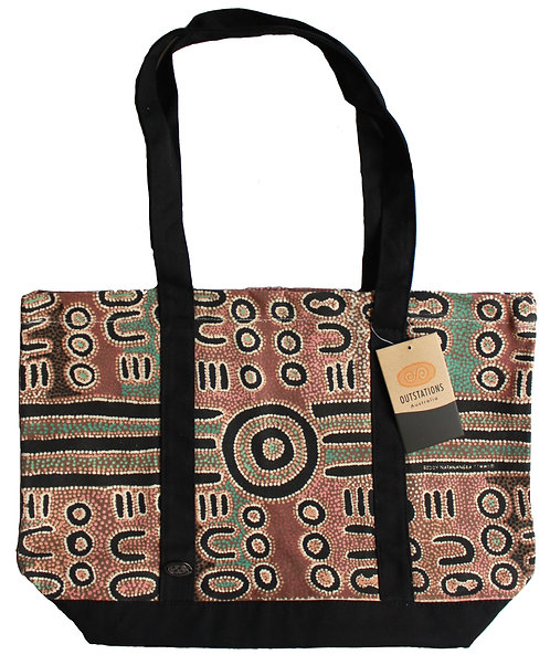 Aboriginal Tote Bag, Shopping Bag, Beach Bag, Day Bag - Australia, Timms, Green