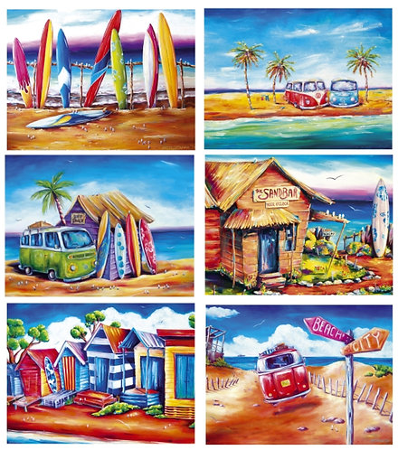 6 Placemats - Australia, Cork - Surf, VW Kombi Van, Beach Boxes, Ocean, Summer