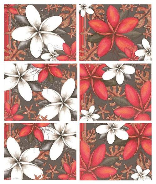 6 Coasters - Australia, Cork - Essence, Frangipani Flowers, Lisa Pollock