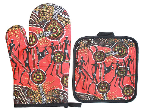 Aboriginal Oven Mitt, Glove & Pot Holder - Gift Set - Australia, H&G Land