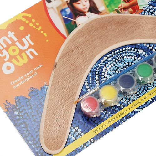 """12"""" / 30cm PAINT YOUR OWN PLYWOOD BOOMERANG - ABORIGINAL - AUSTRALIAN MADE"""