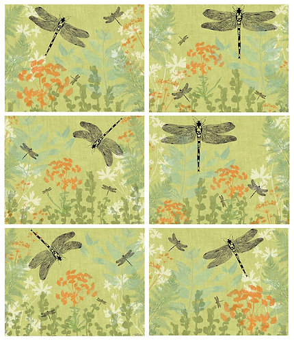 6 Placemats + 6 Coasters - Australia, Cork - Dragonfly Delight, Flowers, Rice