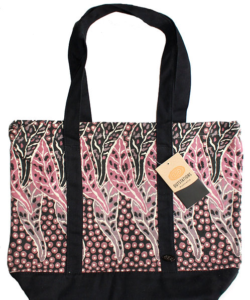 Aboriginal Tote Bag, Shopping Bag, Beach Bag, Day Bag - Australia, Cox, Pink