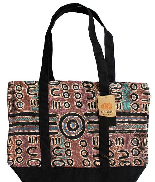 Aboriginal Tote Bag, Shopping Bag, Beach Bag, Day Bag - Australia, Timms, Aqua