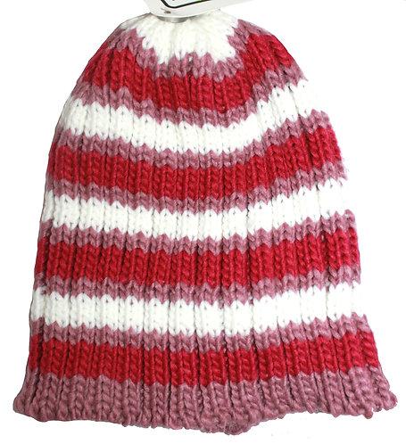 Girls Beanie - Pink & White Stripes - Children, Snow, Winter