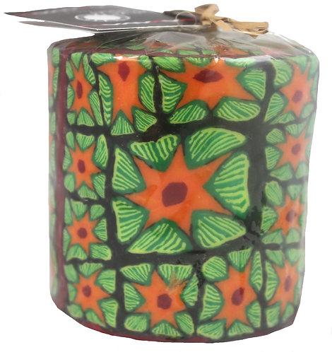 Christmas Candle, 85x90mm - Fair-Trade,Handmade - Poinsettia Flower,Green,Orange