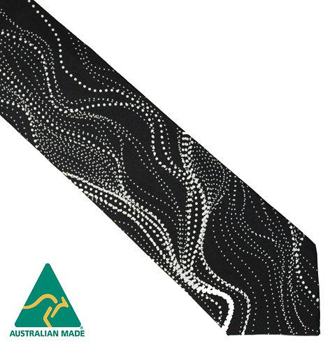 Aboriginal Men's Suit Tie - 100% Silk - Sandhill Charcoal - Australian Made