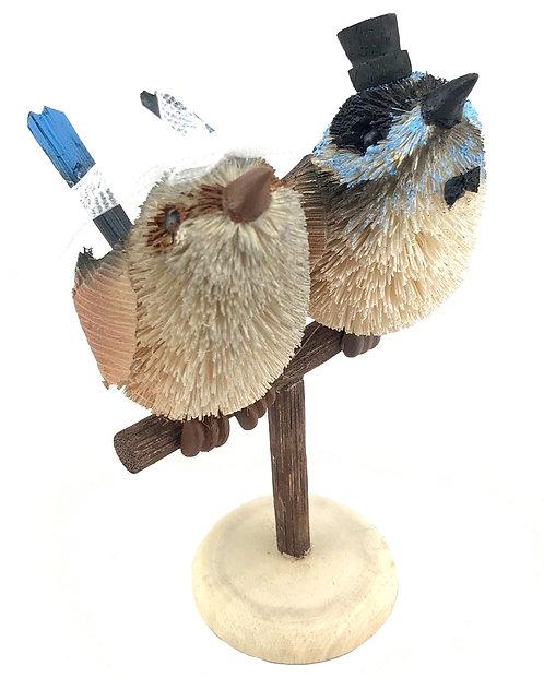 Wedding Cake Topper - Bride & Groom - Australia, Fairy Blue Wren Birds on Perch