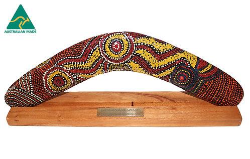 "14"" / 35cm BOXED HARDWOOD BOOMERANG + STAND -ABORIGINAL DOT ART -AUSTRALIAN MADE"