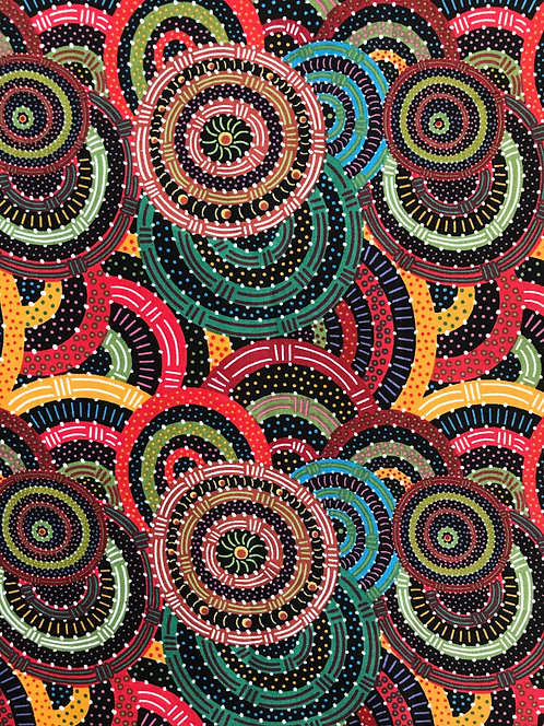 Aboriginal Fabric - 1.2mtrs, 1.3yds - Cotton - Australia, Women's Body Dreaming