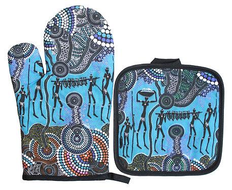 Aboriginal Oven Mitt, Glove & Pot Holder - Gift Set - Australia, H&G Reef