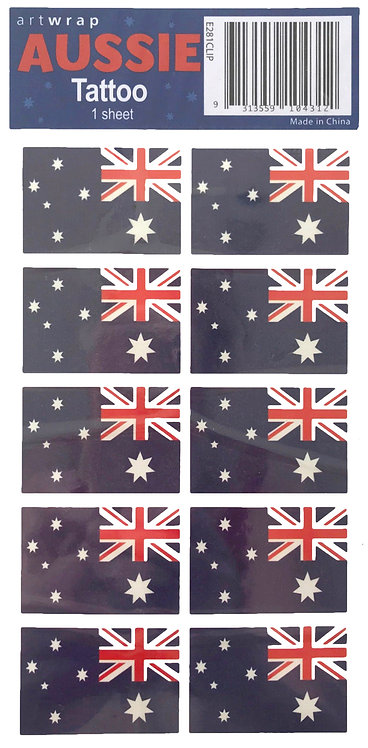 10 x Australian Flag Temporary Tattoos - Aussie Flag, Australia Day, Aussie Day