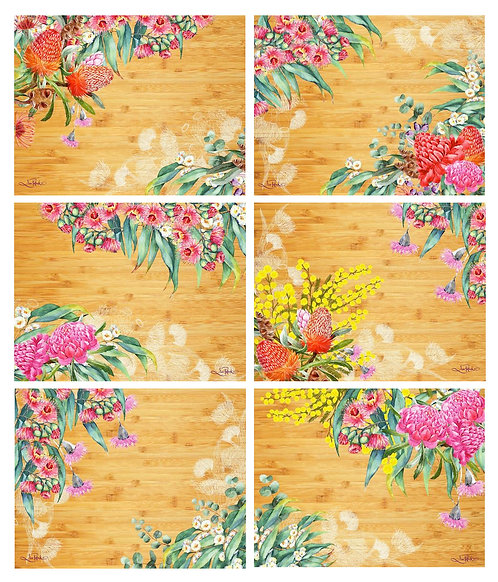 6 PLACEMATS + 6 COASTERS - NATIVE FLOWERS, LISA POLLOCK, AUSTRALIA,CINNAMON,CORK