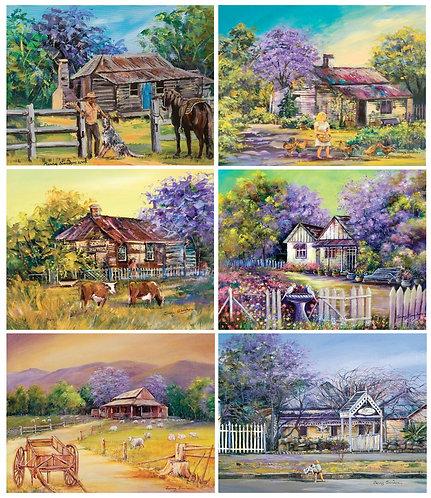 6 PLACEMATS + 6 COASTERS - JACARANDA HOUSE, FARM, AUSTRALIA, CINNAMON, CORK