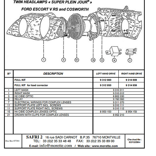 Wiring for escort Cosworth/RS2000