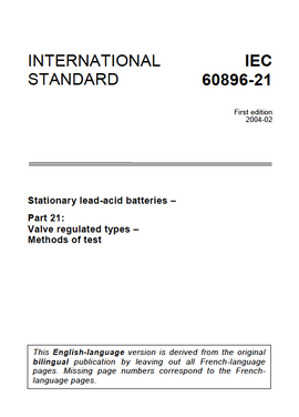 IEC 60896-21 Stationary lead-acid batteries - Part 21: Valve regulated types - Methods of test