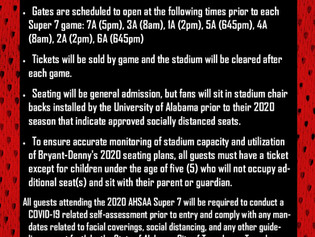 IMPORTANT AHSAA STATE CHAMPIONSHIP GAME DAY INFORMATION