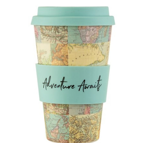 Sass and Belle Vintage Map Collage Bamboo Coffee Cup