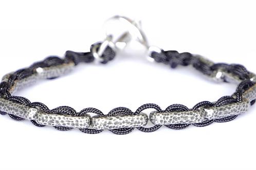 Bracelet tissé en argent plaqué - Modèle ANDY