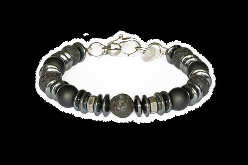 Bracelet pierre de lave, onyx, acier et hématite - Modèle ORLANDO