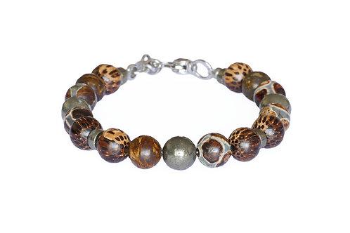 Bracelet bois, pyrite, agate et bronzite - Modèle FONZI