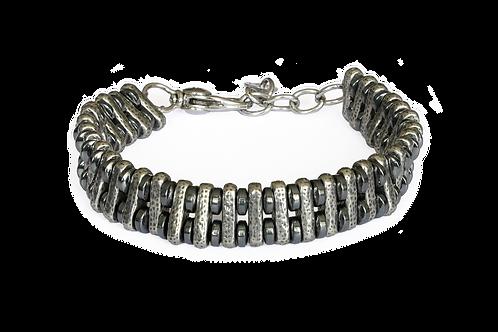 Bracelet double hématite et argent plaqué - Modèle LUCA