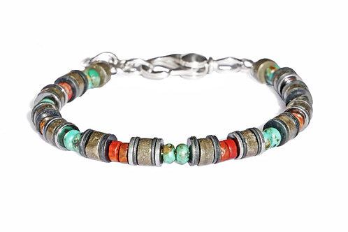 Bracelet en jaspe, pyrite, hématite et vinyle africain 6mm - Modèle SABA