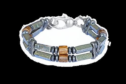 Bracelet argent plaqué, bois exotique et pierres naturelles - Modèle ROMUALD