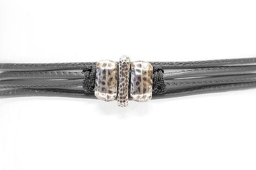 Bracelet cordon de cuir et argent plaqué - Modèle MIGUEL