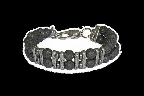 Bracelet double pierre de lave, argent plaqué et hématite - Modèle TONIO