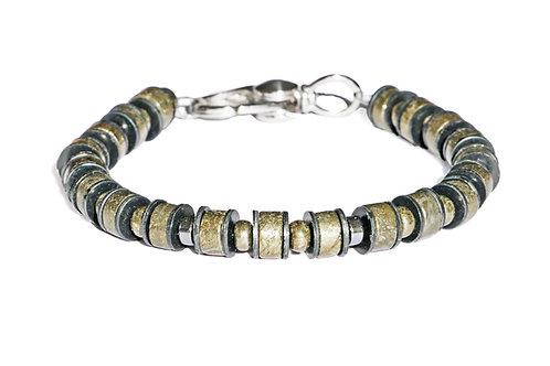 Bracelet pyrite, hématite, acier et vinyle africain - Modèle LEWIS
