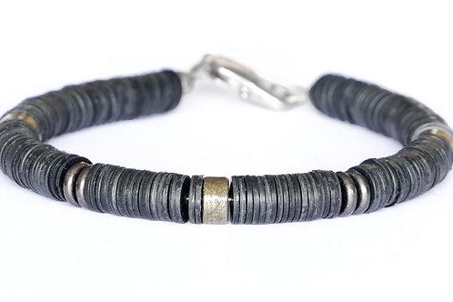 Bracelet vinyle africain et pyrite - Modèle ETHAN