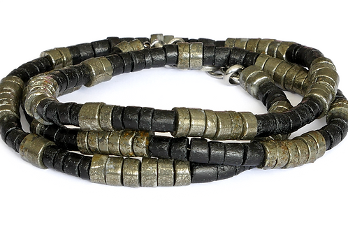 Bracelet 3 tours et  Collier  Homme en bois de coco noir et pyrite 6mm - ENRICO