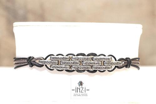 Bracelet cuir et argent plaqué - Modèle KURT