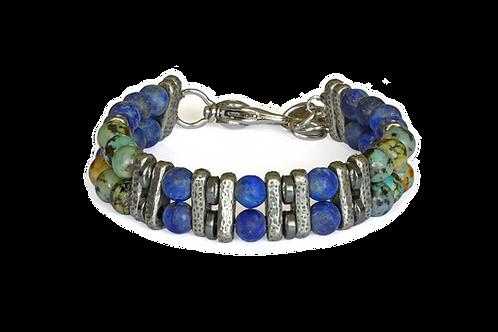 Bracelet double lapis lazuli, jaspe, hématite et argent plaqué - Modèle MIKA