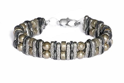 Bracelet double en pyrite, vinyle africain et argent plaqué -Modèle STEEVE
