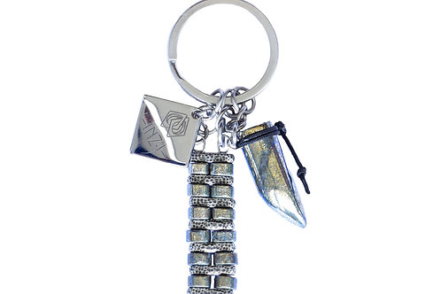Porte-clefs acier, argent plaqué et pyrite - Modèle Block