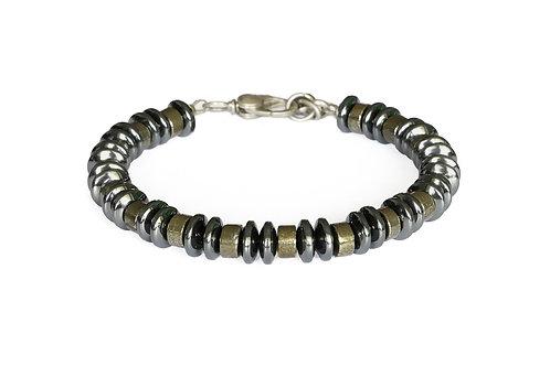 Bracelet pyrite et hématite - Modèle BRICE