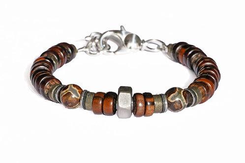 Bracelet en bois précieux, écrou acier et agate style tibétain 8mm - Modèl