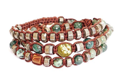 Bracelet 3 tours en macramé et pierres naturelles - Modèle BONNIE
