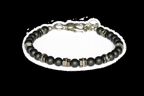 Bracelet onyx mat et hématiteI - Modèle SEB