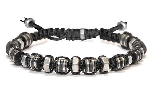 Bracelet en macramé, acier et pierres naturelles - Modèle CLARK