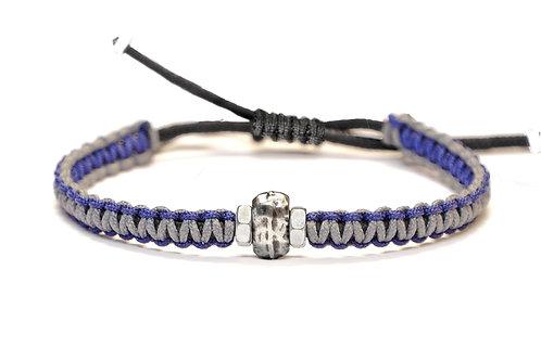 Bracelet réversible en macramé, argent plaqué et écrous acier - Modèle RANDALL