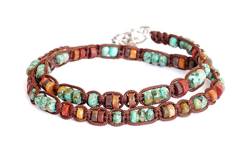 Bracelet double en macramé et pierres naturelles 5mm - Modèle JONAS unisex