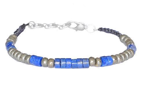 Bracelet en lapis lazuli et pyrite  - Modèle BRUCE