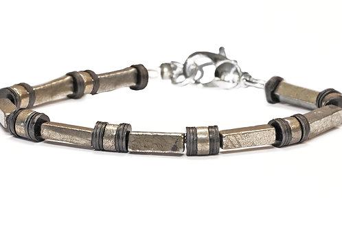 Bracelet en pyrite, et vinyle africain - Modèle DIEGO